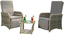 2 armchairs + table grey polyrattan lounge suite