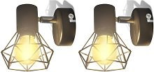 2 Black Industrial Style Wire Frame Wall Sconce