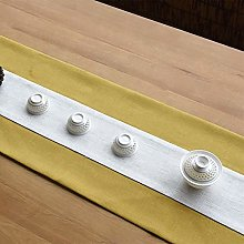 2-Color Cotton Linen Stitching Table Runner White