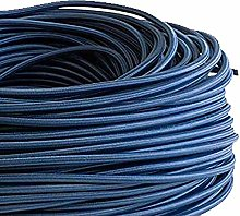 2 Core Round Fabric Braided Dark Blue Cable
