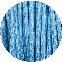 2 Core Round Fabric Braided Light Blue Cable
