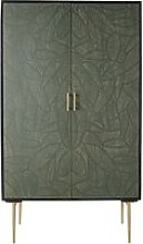 2-door black solid mango wood wardrobe with leaf