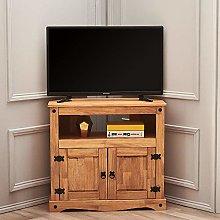 2 Door Corner TV Stand Cabinet Unit Solid Pine