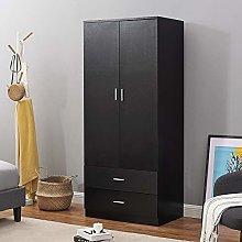 2 Door Double Wardrobe + 2 Drawers Bedroom Storage
