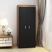 2 Door Double Wardrobe In White/Black/Oak -