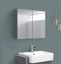 2 Door Mirror Cabinet Wall Mounted Bathroom