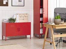 2 Door Sideboard Red Stainless Steel Home Office