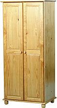 2 Door Solid Pine Wardrobe with Bun Feet Hampshire