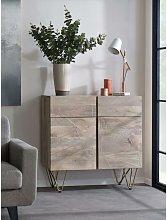 2 Door Solid Wood Medium Sideboard 2 Drawers Gold