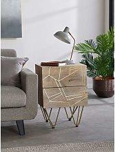 2 Door Solid Wood Side Bedside Lamp Table 2