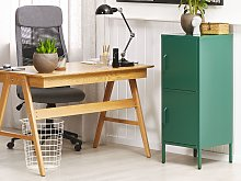 2 Door Storage Cabinet Green Metal Home Office