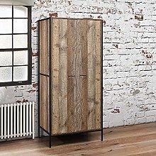 2 Door Wardrobe, Happy Beds Urban Wood and Metal