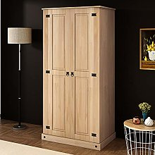 2 Door Wardrobe Mexican Bedroom Solid Pine Flat