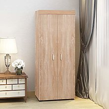 2 Doors Wooden Wardrobes with Hanging Rail Modern