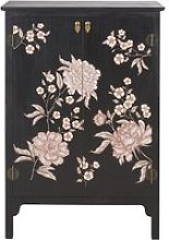 2-Drawer Black Storage Cabinet with Floral Print