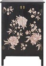 2-Drawer Black Storage Cabinet with Floral Print