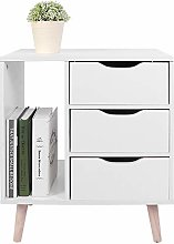 2-Drawer Wood Nightstand End Side Table, High