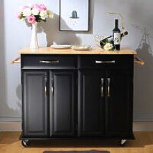 2 Drawers Wooden Kitchen Mobile Trolley Storage