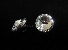 2 Glass crystal buttons - 20mm diameter -