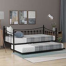 2 in 1 Bed Frame, 3FT Metal Daybed With Trundle,