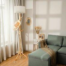 2-in-1 Coat Rack Floor Lamp Wood Indoor Standing