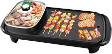 2 in 1 Electric Grill Hot Pot Smokeless BBQ Baking