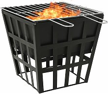2-in-1 Fire Pit and BBQ 34x34x48 cm Steel - Black