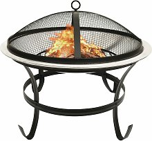 2-in-1 Fire Pit and BBQ with Poker 56x56x49 cm