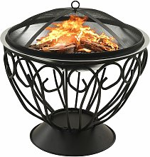 2-in-1 Fire Pit and BBQ with Poker 59x59x60 cm