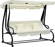 2-in-1 Patio Swing Chair 3 Seater Hammock Canopy