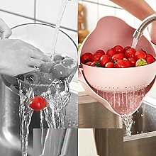 2 in 1 Plastic Drain Basket Strainer Kitchen