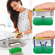 2-in-1 Sponge Rack Soap Dispenser for Liquid Soap,
