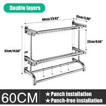 2 Layer Wall Mount Towel Rack Rail Stainless Steel