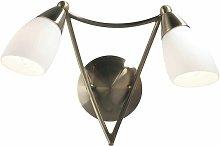 2-light antique brass and opal glass desk wall