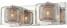 2 Light Indoor Glass Wall Light Mesh Chrome,