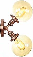 2-Light Wall Lamps, Globe Glass Lampshade,