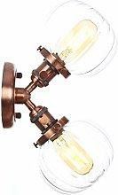 2-Light Wall Lamps, Globe Glass Lampshade, Metal
