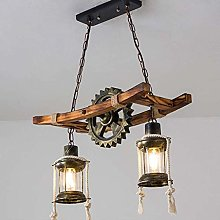 2-lights E27 Pendant Light Vintage Oak Dining Room
