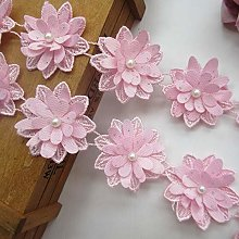 2 Meters 3D Flower with Pearl Bead Lace Edging