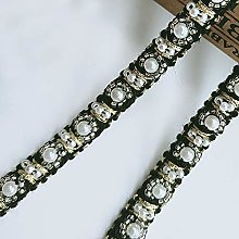 2 Meters Pearl Lace Trim Ribbon with Beads Gold