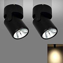 2 Pack 7W Black COB LED Single Spotlight Fitting