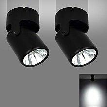 2 PACK-7W Black LED Single Spotlight Fitting for