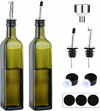 [2 Pack]Aozita 17oz Glass Olive Oil Bottle Set -