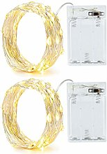 2 Pack Battery 2M 20 LED Silver Wire Fairy String