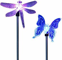 2 Pack Butterfly/Dragonfly Solar Lights Stake,LED