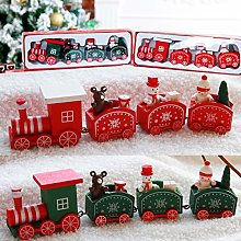 2 Pack Christmas Decorations Wooden Train