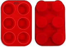 2 Pack Deep and Large Muffin Tray, 6 Cup Silicone