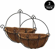 2 Pack Hanging Basket Planter Round Wire Plant