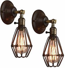 2 Pack Metal Wire Cage Wall Sconce - Rustic Black