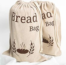 2 Pack New Living Natural Linen Bread Bag | 2 x